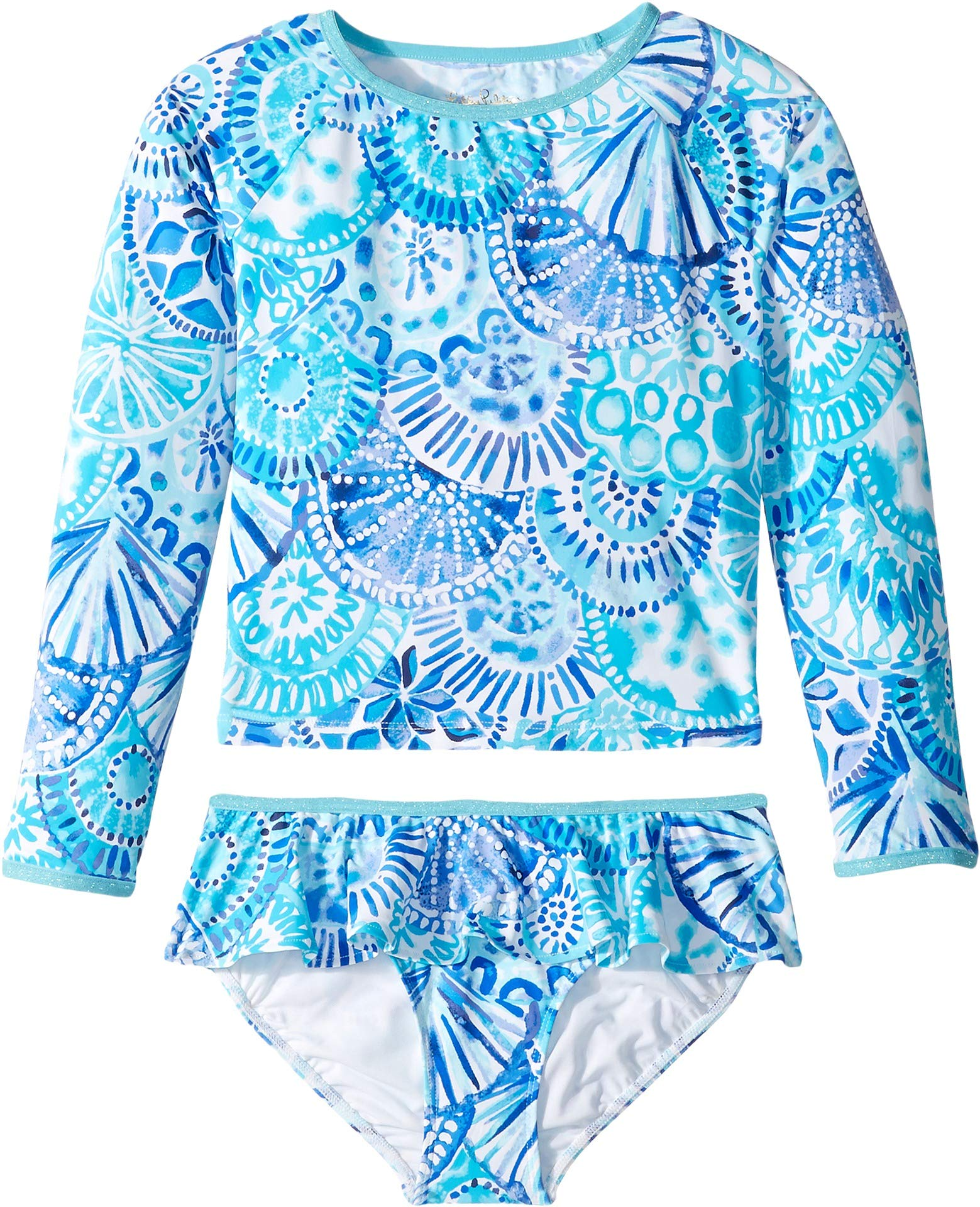 Lilly Pulitzer Kids Baby Girl's UPF 50+ Cora Rashguard Swim (Toddler/Little Kids/Big Kids) Turquoise Oasis Half Shell 3T