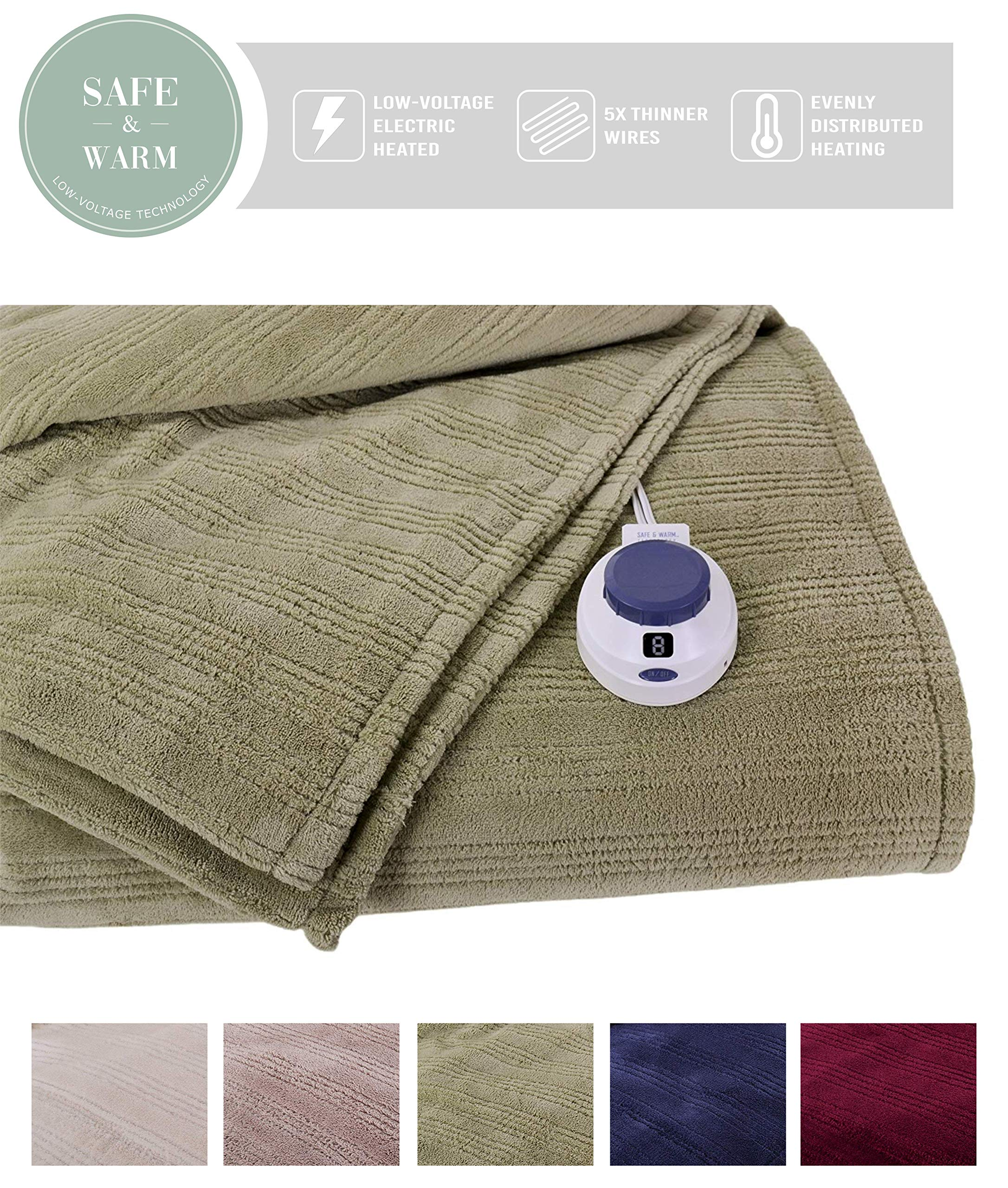 SoftHeat by Perfect Fit | Ultra Soft Plush Electric Heated Warming Blanket with Safe & Warm Low-Voltage Technology (Twin, Sage Green)