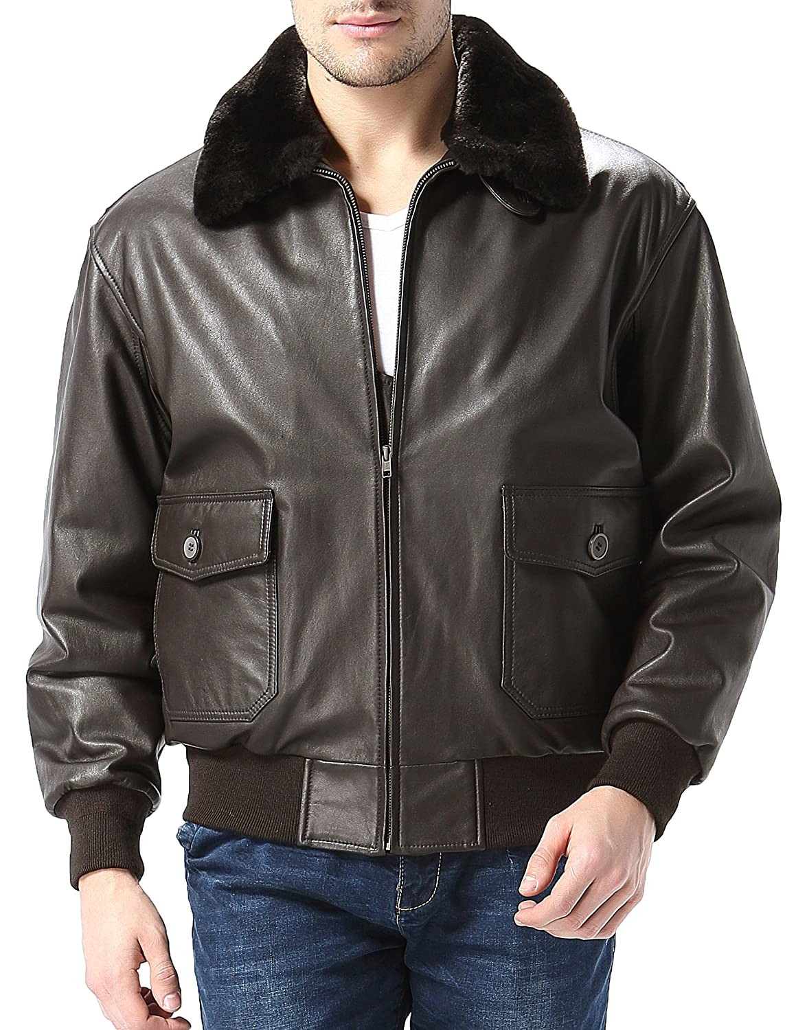 Airborne Leathers MEN'S G1 Goatskin Bomber Jacket With Fur