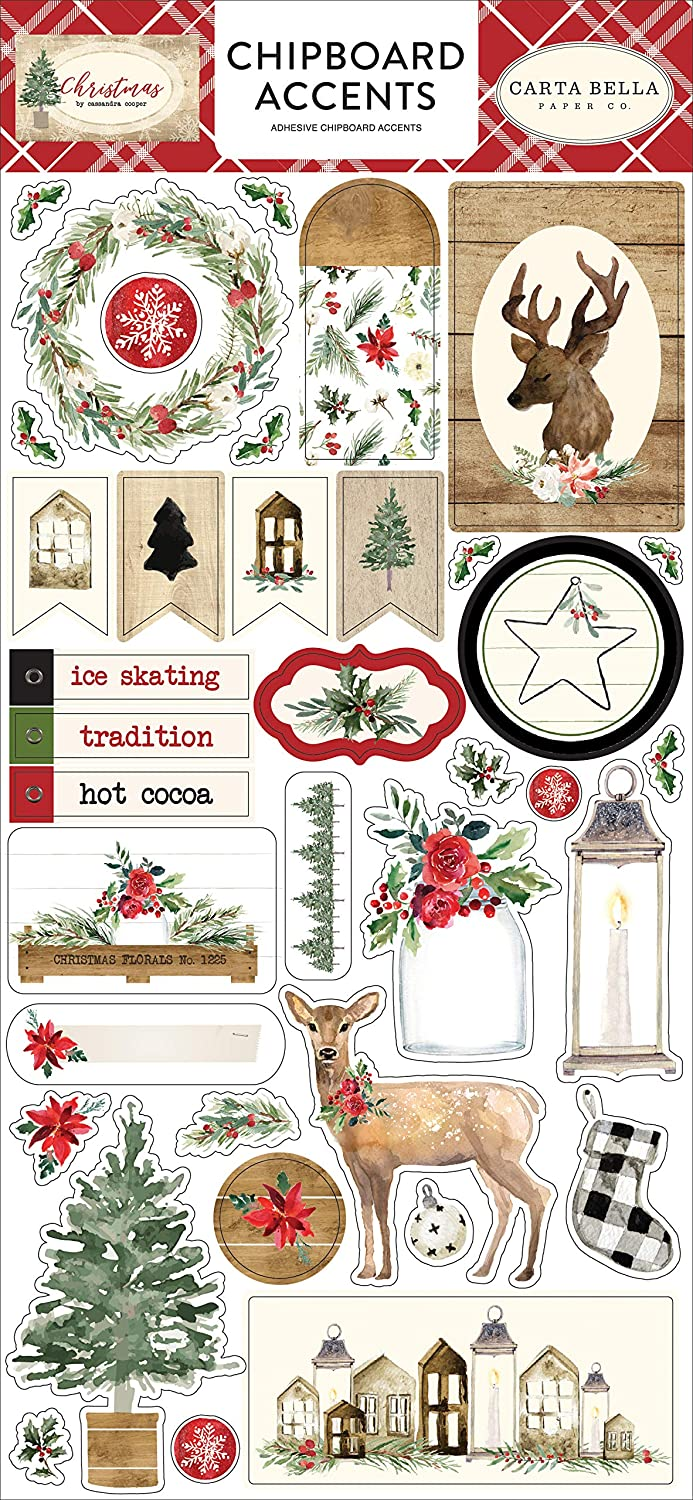 Carta Bella Paper Company CBCH89021 Christmas 6x12 Chipboard Accents, Red, Green, Black, Tan Echo Park Paper Company
