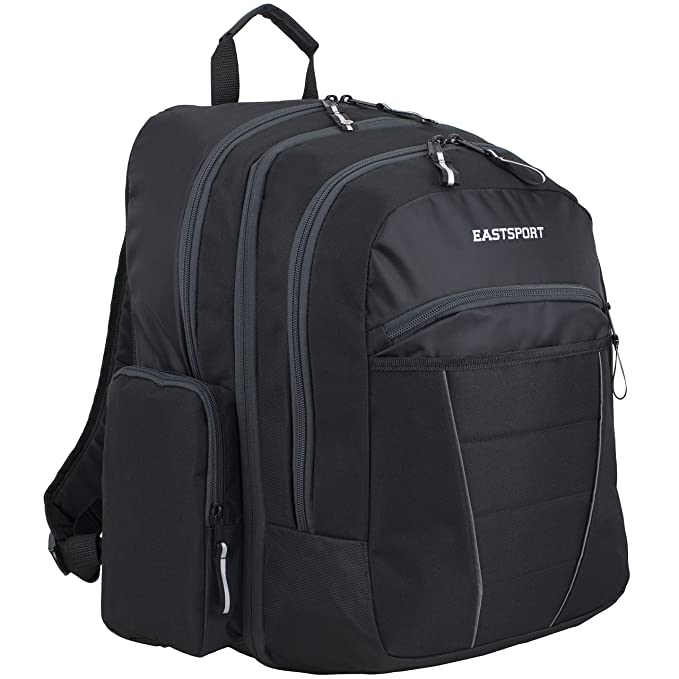 Eastsport Multipurpose Expandable Backpack with Multiple Compartments and External USB Charging Port - Black