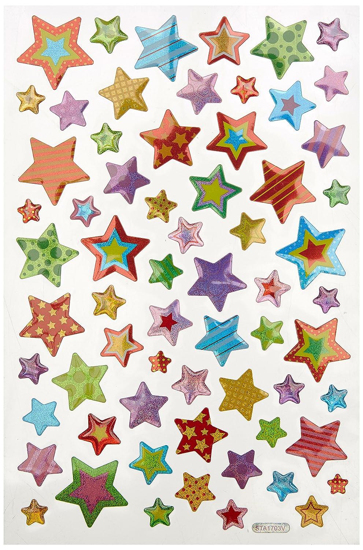 Multicraft Imports SS056C Stars Craft Glitter Stickers Multicolor