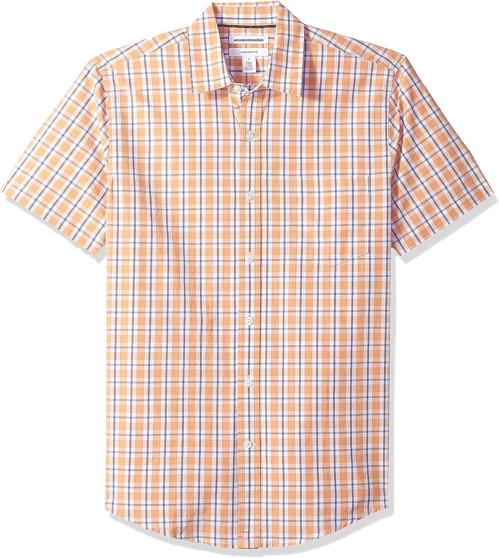 Essentials Men's Slim-Fit Short-Sleeve Casual Poplin Shirt: Clothing