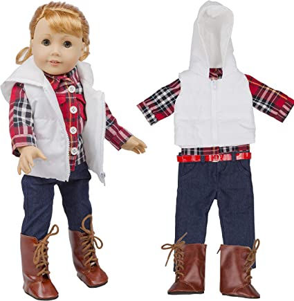 4PC Chirstmas Pants Dress Clothes For American Boy Doll for Accessory Girl Toy