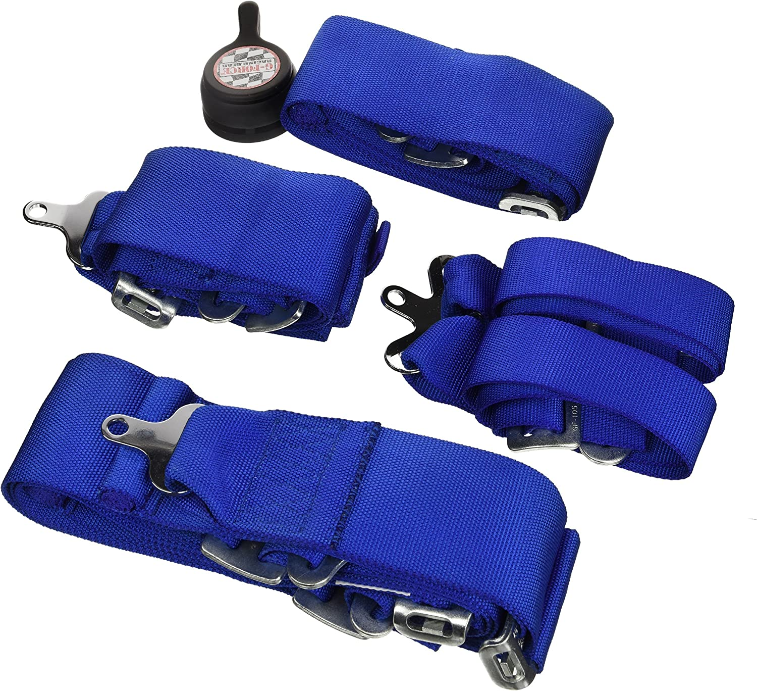 G-Force 7101BU Blue 6-Point Pull-Up Camlock Individual Shoulder Harness Set