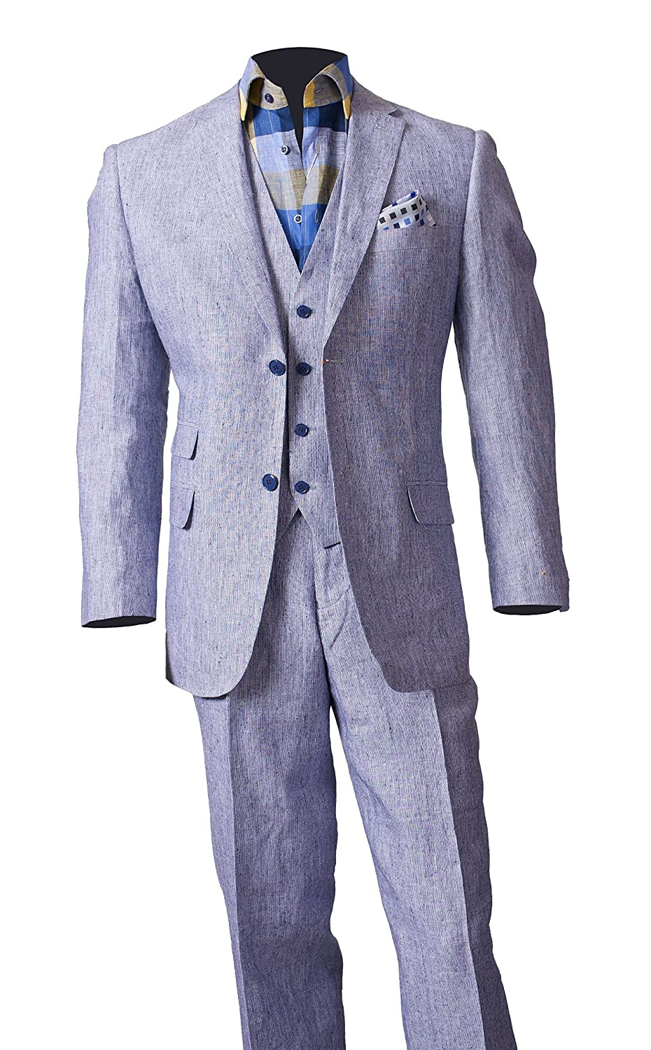 100% Linen Three-Piece Suit Sport Coat Jacket and Flat Front Pants Style