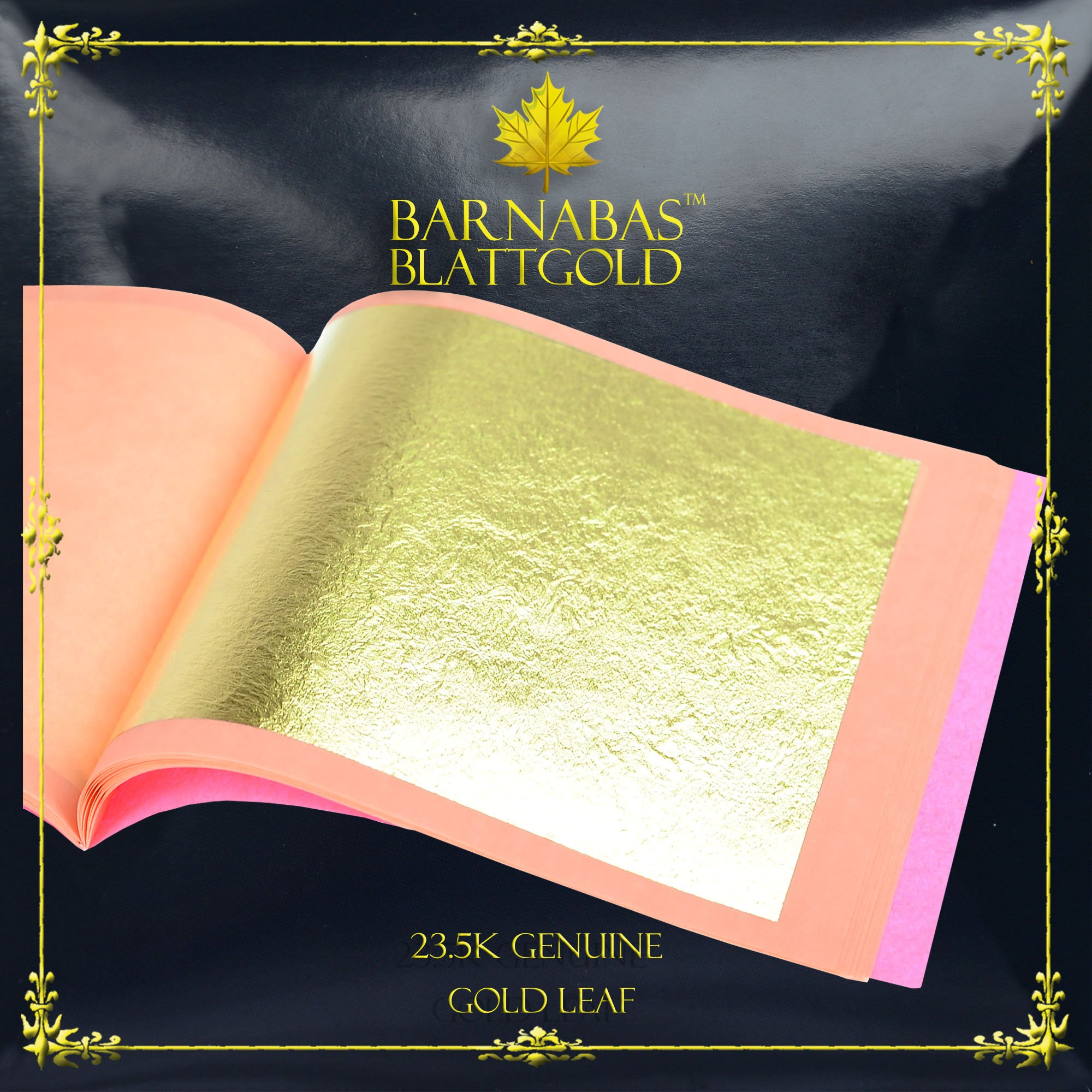 Genuine Gold Leaf Sheets 23.5k - by Barnabas Blattgold - 3.1 inches - 25 Sheets Booklet - Loose Leaf