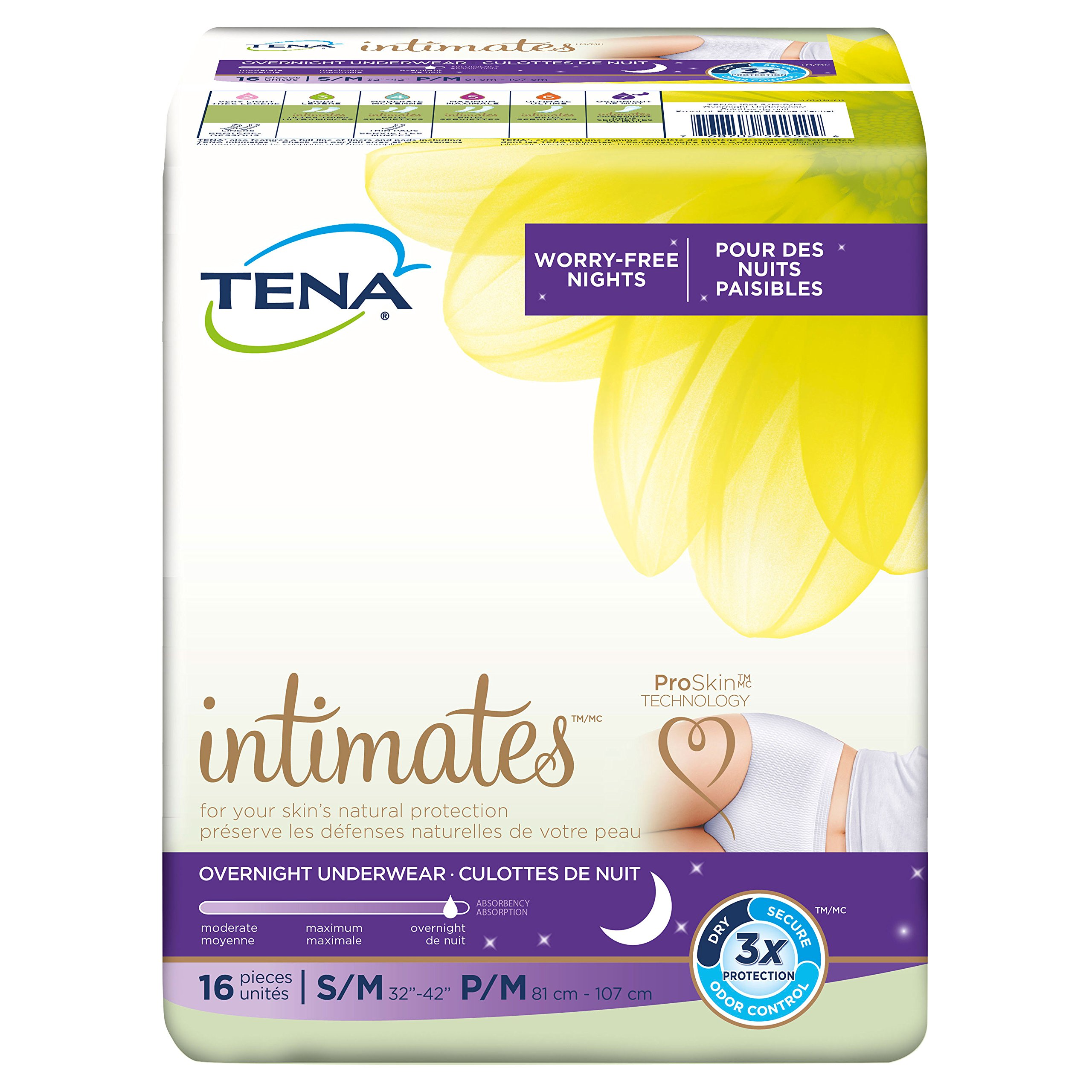 Tena Incontinence Underwear For Women, For Overnight, Medium, 16 Count (Pack of