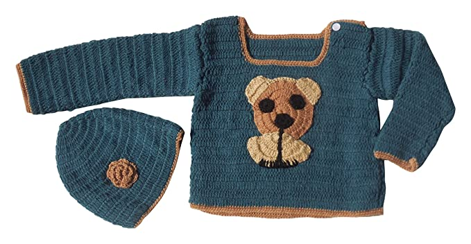 Sr Handicrafts Baby Boys Wool Sweater With Cap Sh058 6 12 Months
