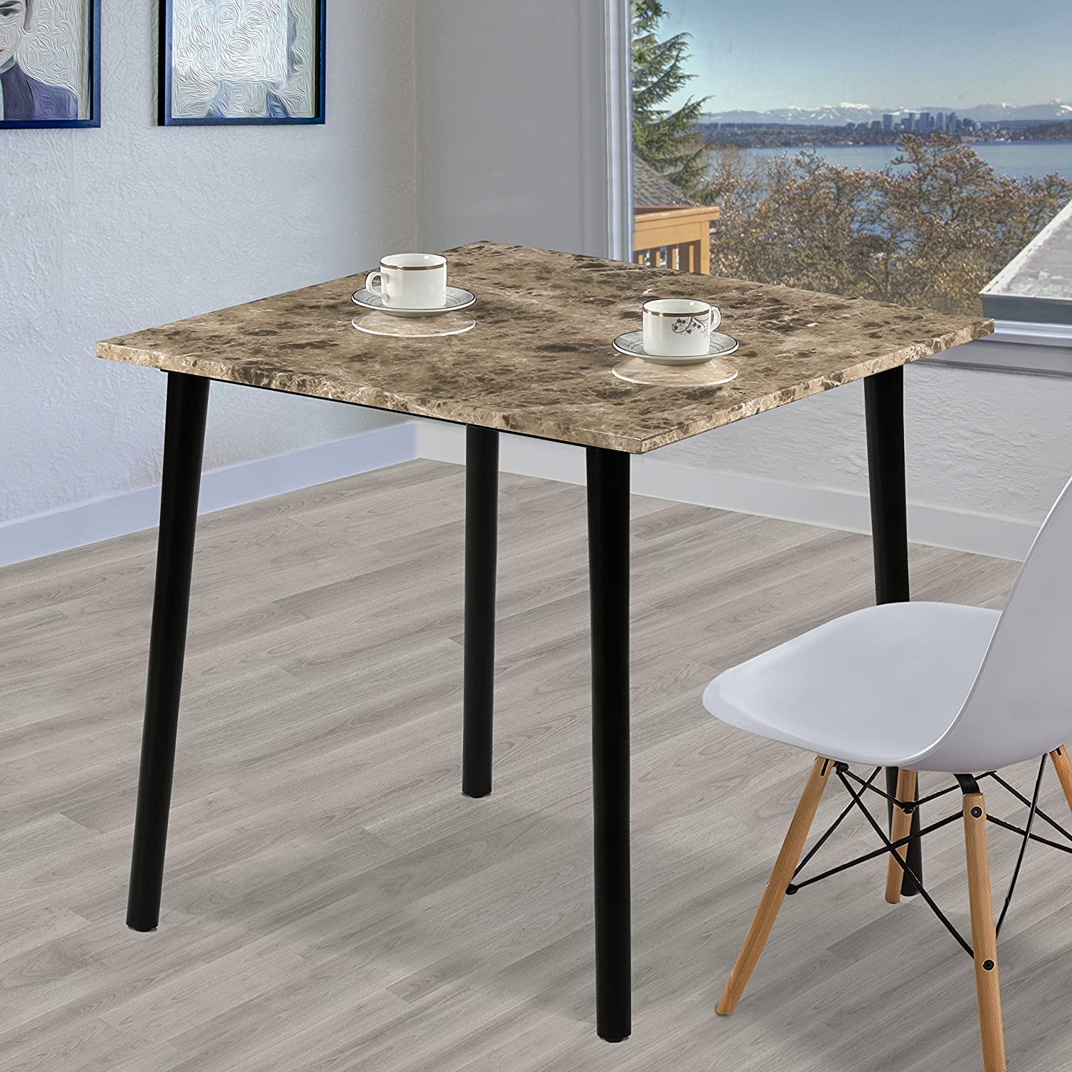 Olee Sleep Square Dining Table with Faux Marble Top, Crema Cappuccino