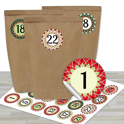 Papierdrachen 24 Bolsas de Papel con Pegatinas para Calendario de Adviento - Motivo Estrellas Rojas y Verdes - 17