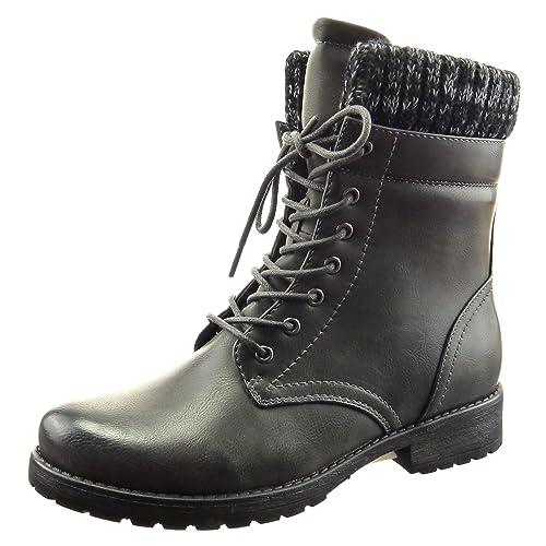 Sopily - Zapatillas de Moda Botines botas militares A medio muslo mujer Talón Tacón ancho 3