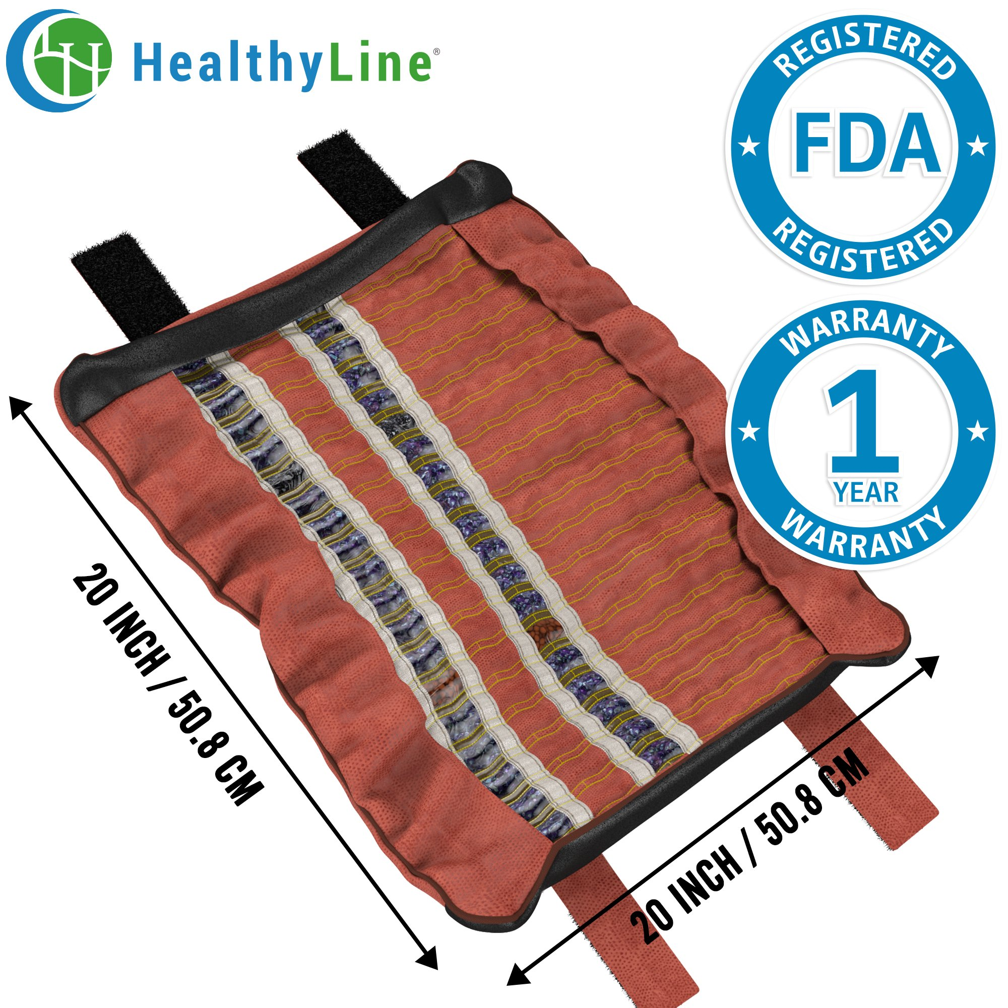HealthyLine Heating Hand Sleeve | Amethyst, Tourmaline & Obsidian Heat Therapy 20'' x 20'' | Physical Therapy​ ​Heated Negative Ions |​​ US FDA Registered