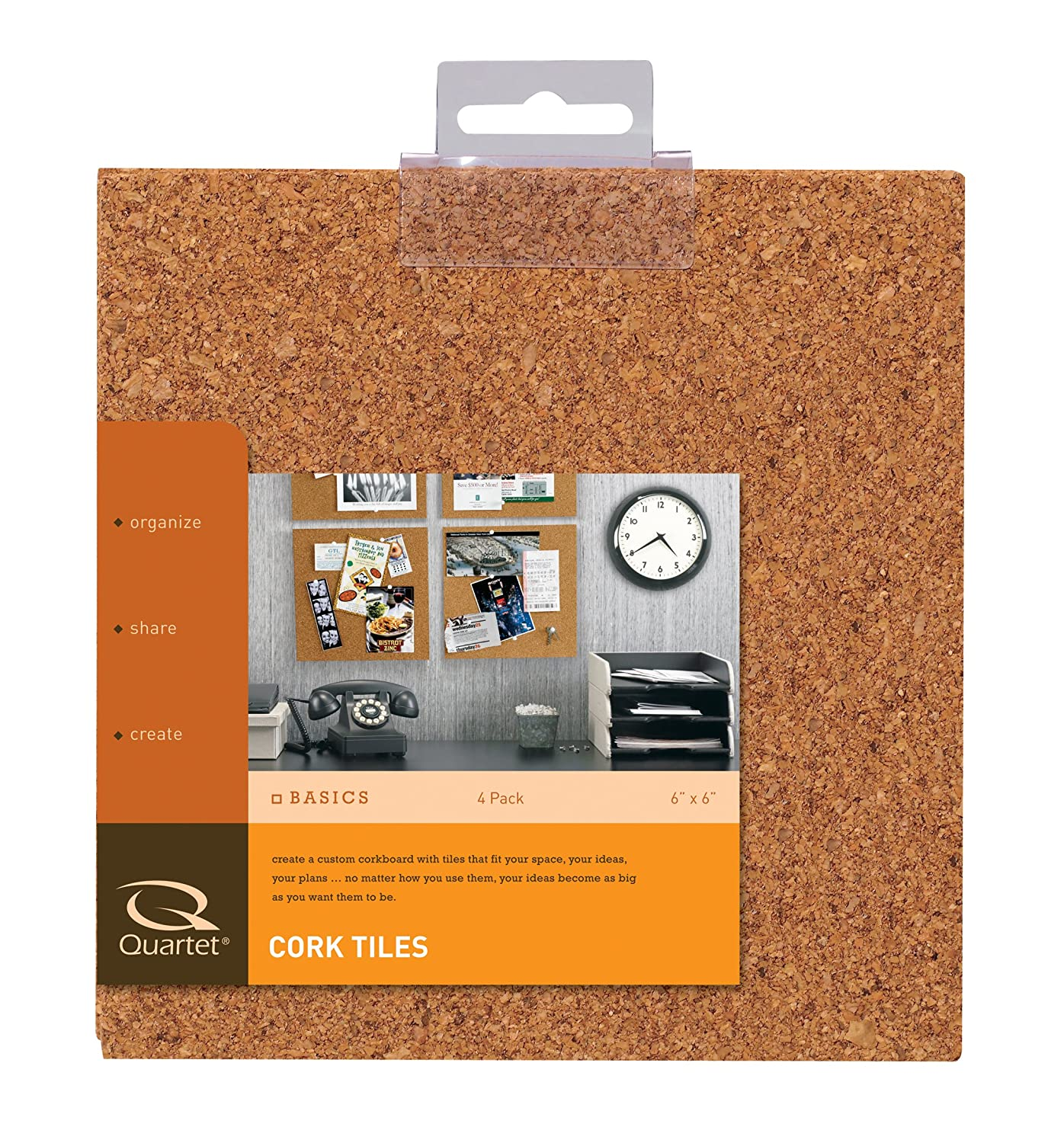 Quartet Cork Tiles, Natural, 6 Inch x 6 Inch, Frameless, 4 Pack (100T) ACCO Brands