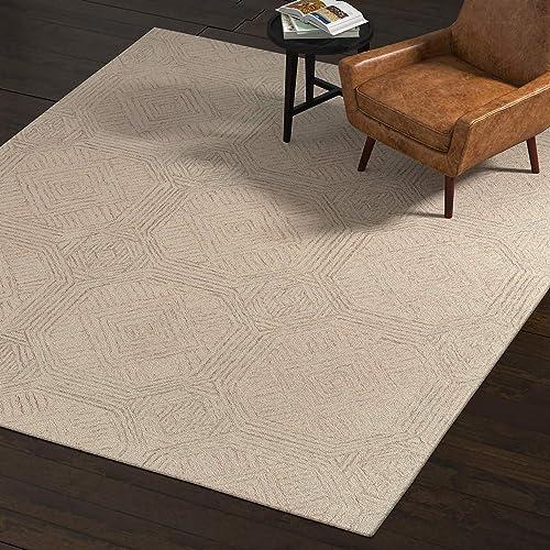 Rivet Geometric Wool Area Rug, 8 x 10 Foot, Green, Ivory