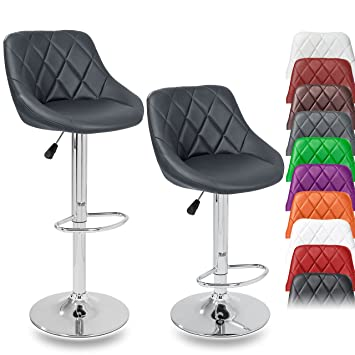 Tabouret De Bar Amazon.Set De 2 Tabourets De Bar Gris Hauteur Reglable Et Rotation A 360 60 80cm