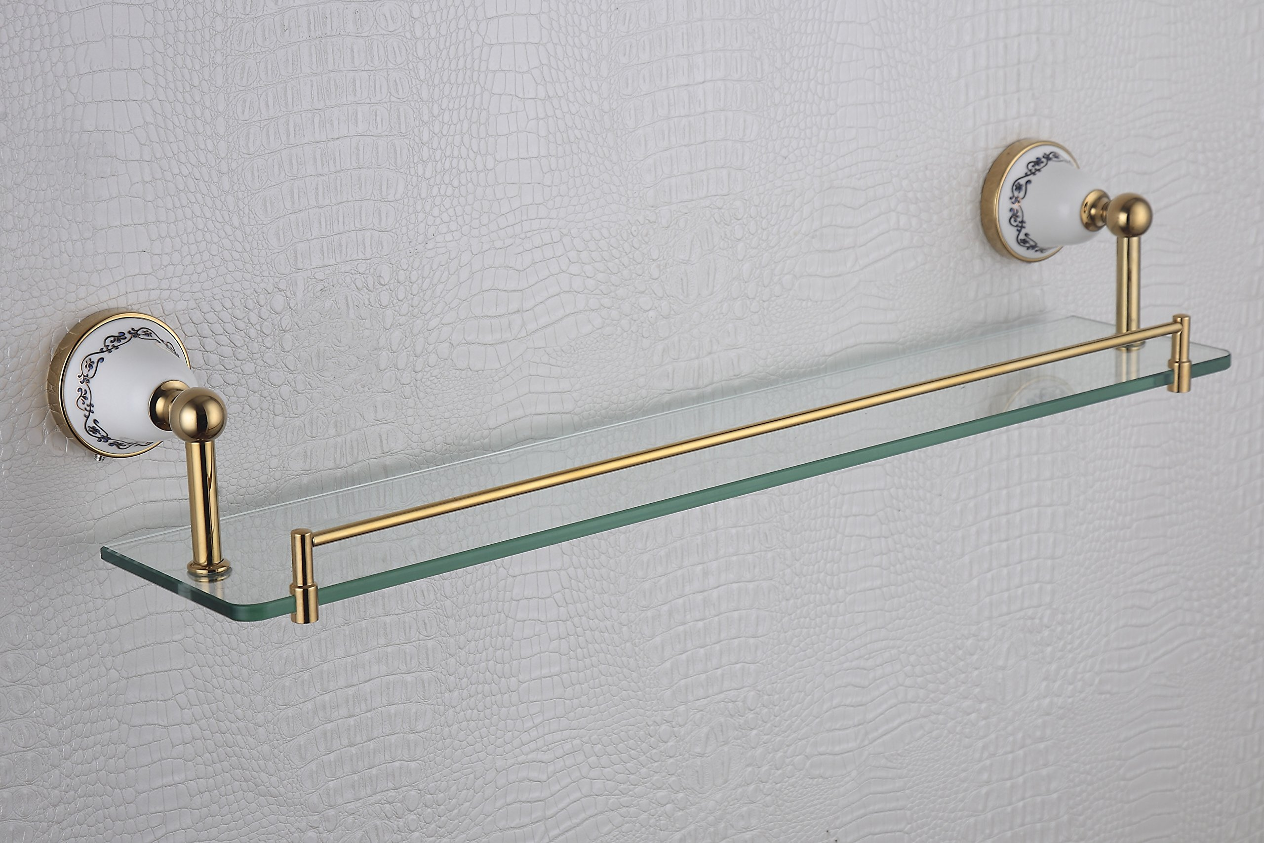 Cloud Power Bathroom Brass Single Glass Shelves Single Glass Shelves Titanium Wall-mounted Single Glass Shelves Porcelain Decorated