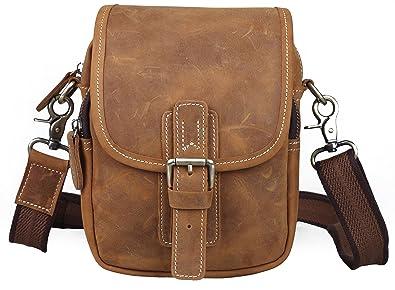 363467d9ed0b Amazon | [(チョウギュウ) 潮牛] ワイルド風 本革 メンズ ウエストバッグ ベルトポーチ 2WAY ミニショルダーバッグ ヌメ革 牛革 鞄  ブラウン | ウエストバッグ