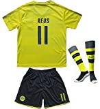 2017/2018 Borrusia Dortmund BVB Home #11 Marco REUS Football Futbol Soccer Kids Jersey Shorts Socks Set Youth Sizes