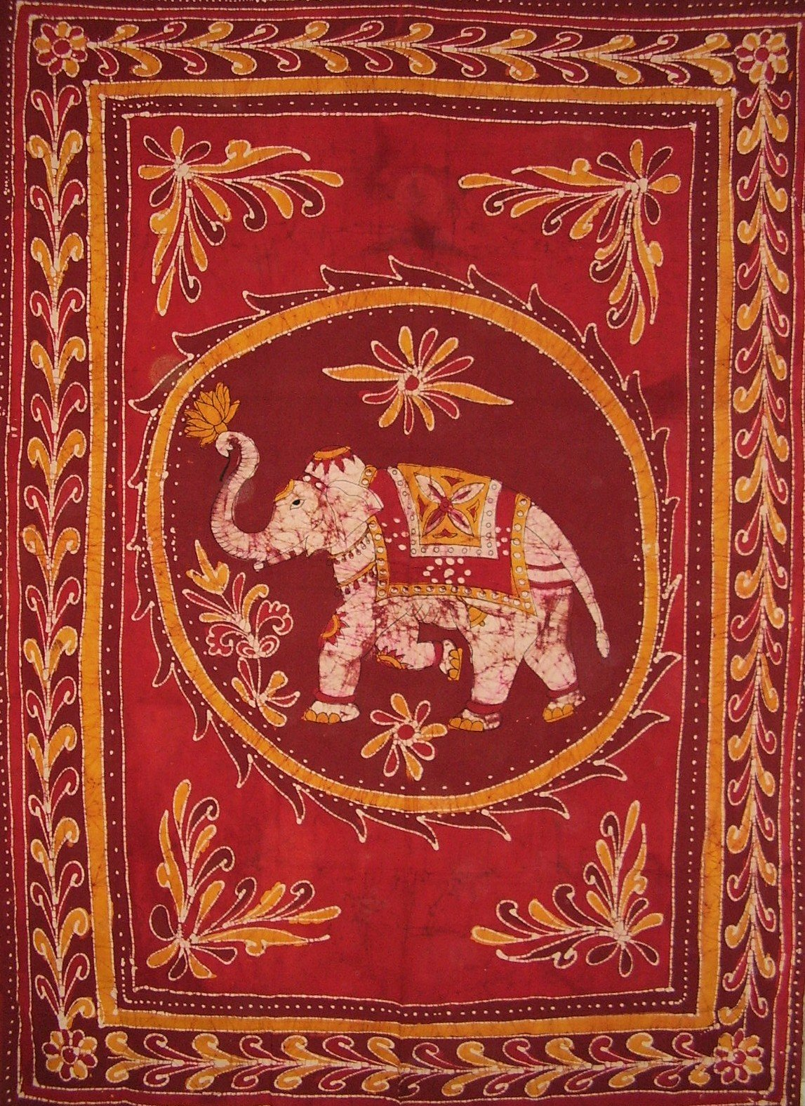 Lucky Batik Elephant Tapestry Cotton Spread 102'' x 70'' Twin Red