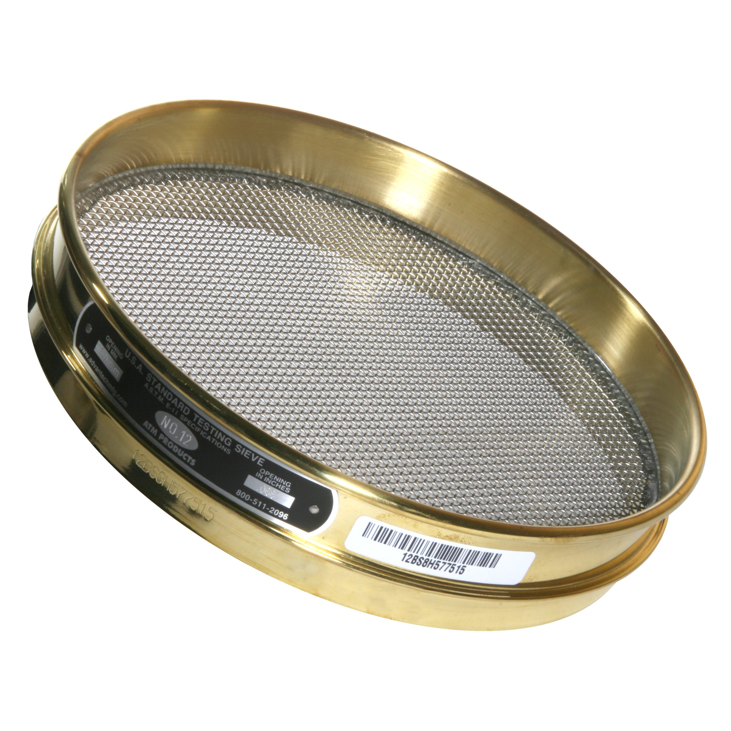 Advantech Brass Test Sieves with Stainless Steel Wire Cloth Mesh, 8'' Diameter, #12 Mesh, Full Height