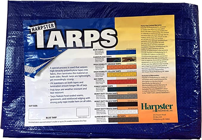 Harpster Tarps 6x8 ft Tarp Blue Tarp