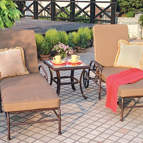 Darlee Square Patio End Table with Glass Top in Antique Bronze