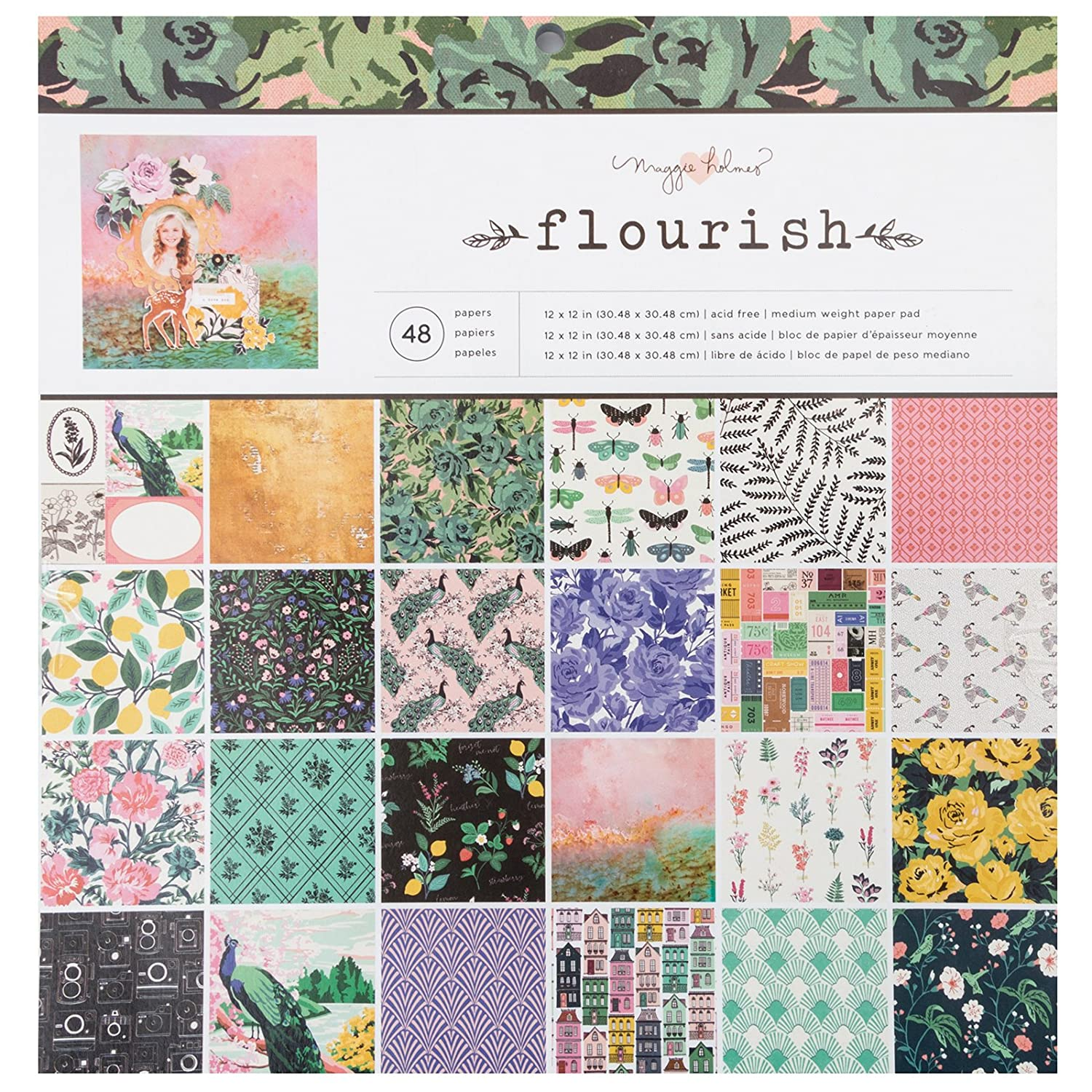 Maggie Holmes Flourish Patterned 48 Sheets 12 x 12 Paper Pad American Crafts 344383