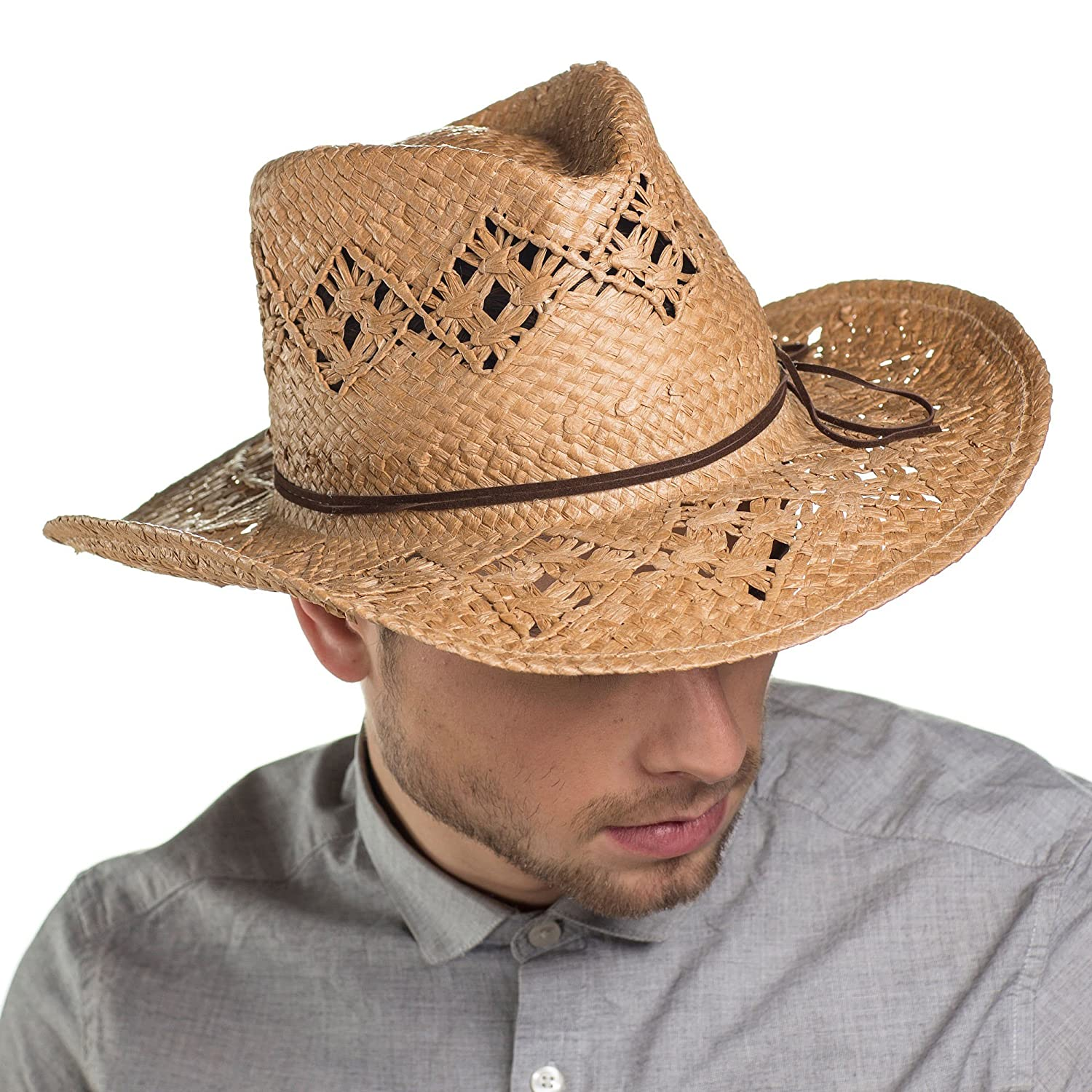 i-Smalls Men's Cowboy Straw Hat with Braid Trim LS15020 MS15020