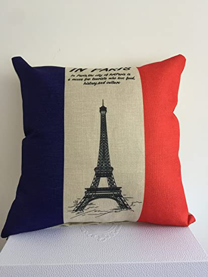 Tcoome Eiffel Tower Pillow Home Decor Throw Pillow Cover Eiffel Tower  Cotton Linen Standard Cushion Cover 4ba99d2f56