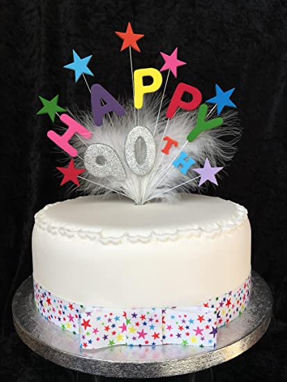 Happy 90th Birthday Cake Topper Multicoloured Stars Silver Glittered Number Plus 1 X Metre 25mm Star Grosgrain Ribbon With Attached Bow Amazoncouk