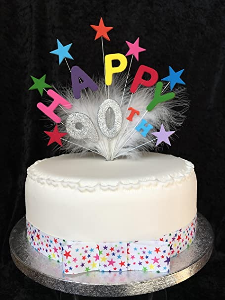 Happy 90th Birthday Cake Topper Multicoloured Stars Silver Glittered Number Plus 1 X Metre