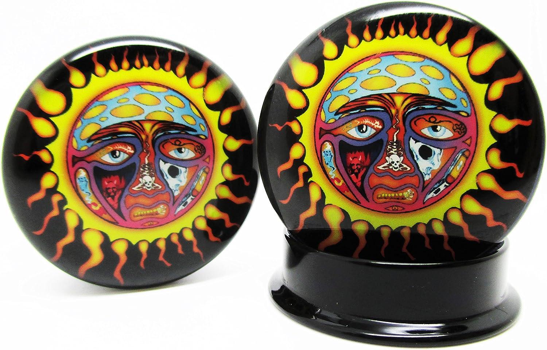 Pierced Republic Sublime Sun Ear Plugs - Acrylic Screw-On - 10 Sizes - Brand NewPair