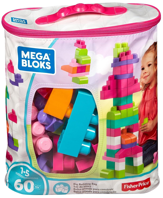 Mega Bloks Juego de construcción de piezas con bolsa ecológica rosa Mattel