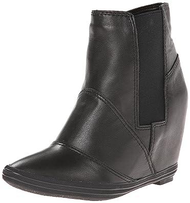 Amazon.com   ALL BLACK Women's Stretch Wedge Boot, Black, 38 EU ...