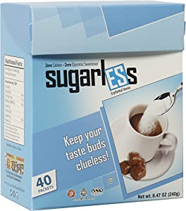 Health Garden Sugarless Erythritol and Stevia Blend Sweetener Packets - All Natural - Non GMO - Kosher- Keto Friendly (40 Packets)