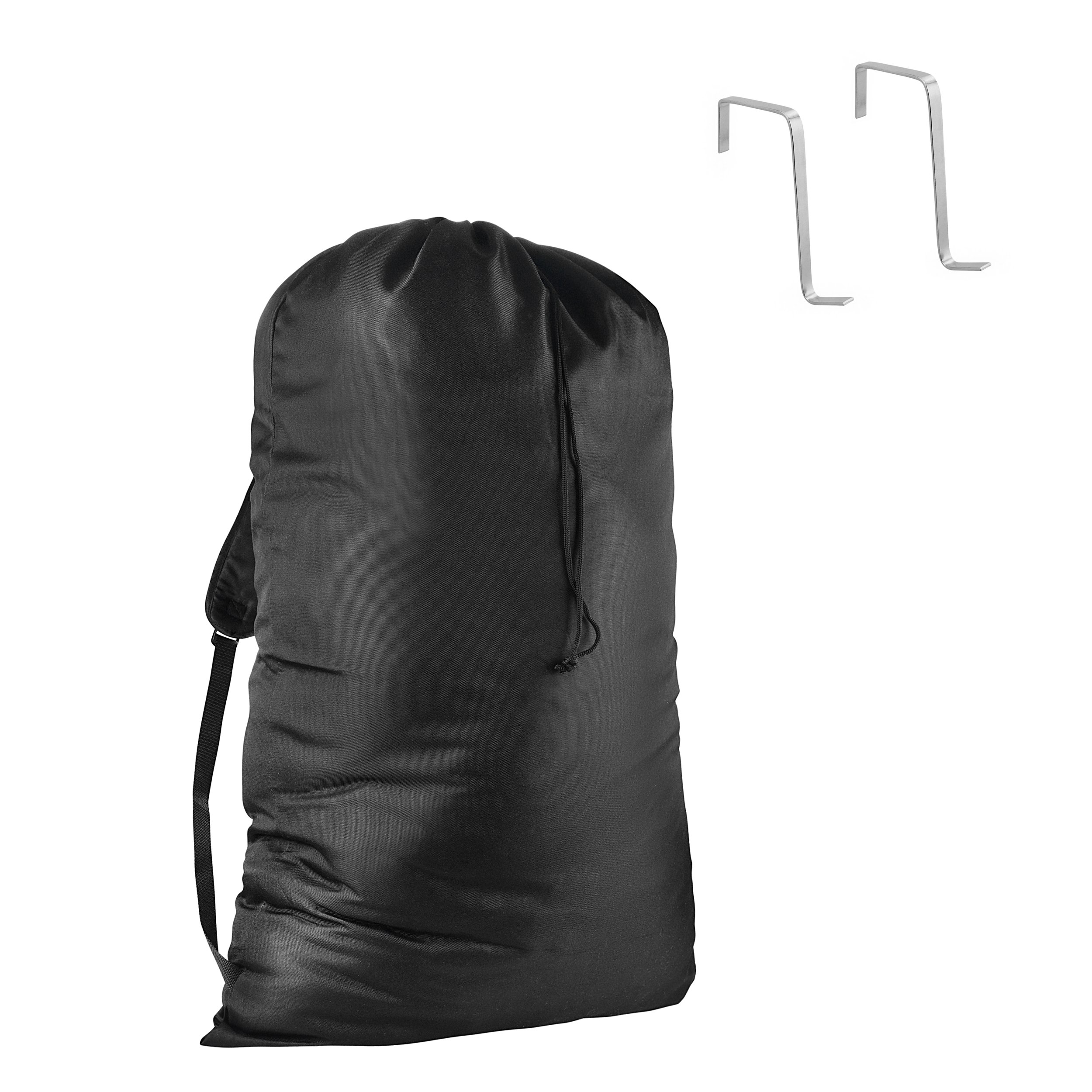 Hanging Laundry Bag with Bookbag Shoulder Straps   40 in tall x 28 in wide   For College Dorm Students   Reinforced Stitching Prevents Ripping   Behind The Door Storage with Door Hooks