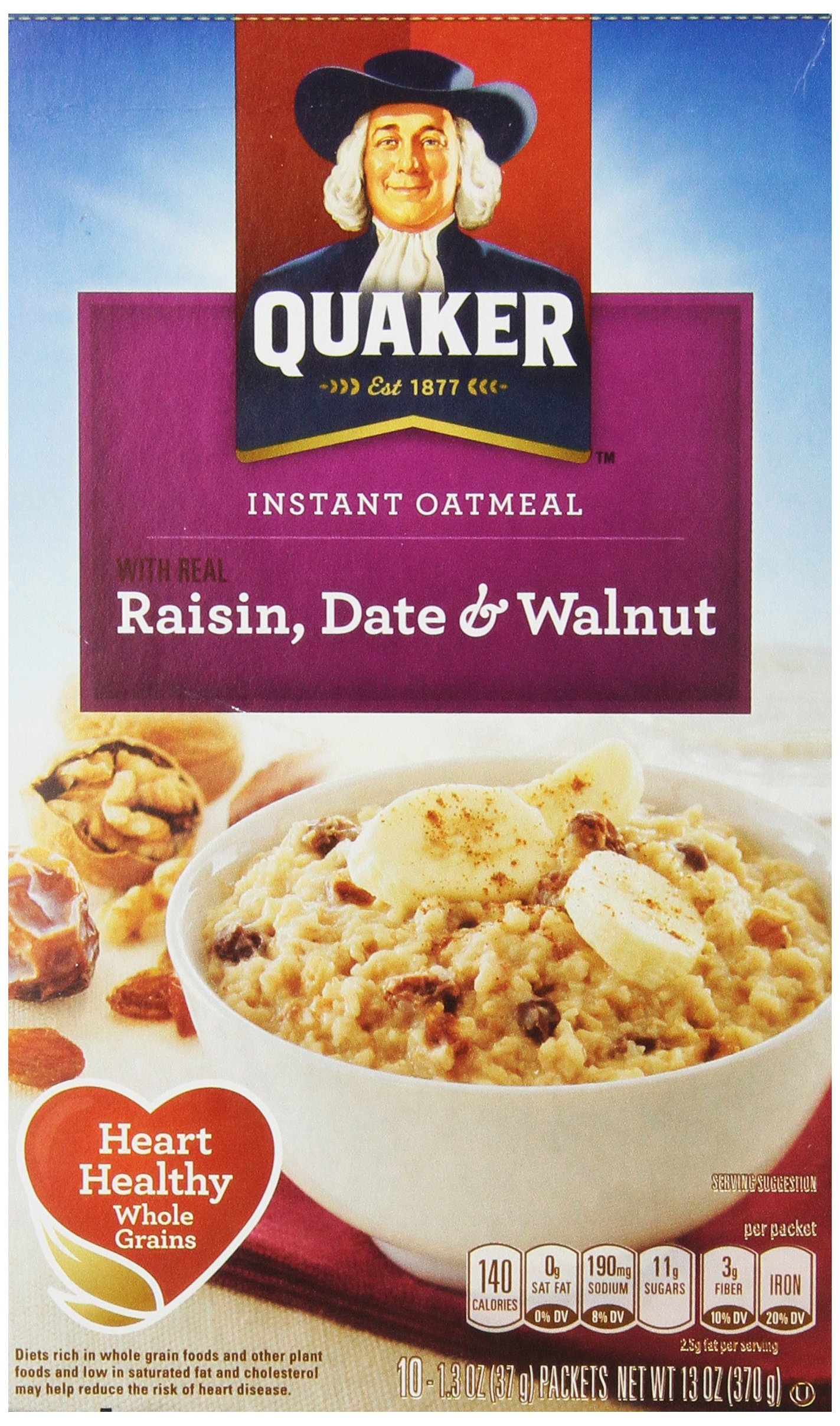 Quaker Instant Oatmeal Raisin, Date & Walnut,  1.3 Ounce Packs - 10 Count Boxes, 13 ounce (Pack of 12)