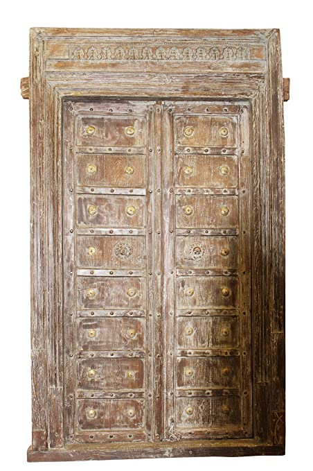 Mogul Interior Indian Antique Architectural Entrance Doors Solid Wood Hand  Carved Vintage Double Door Frame Industrialfurniture - Amazon.com: Mogul Interior Indian Antique Architectural Entrance