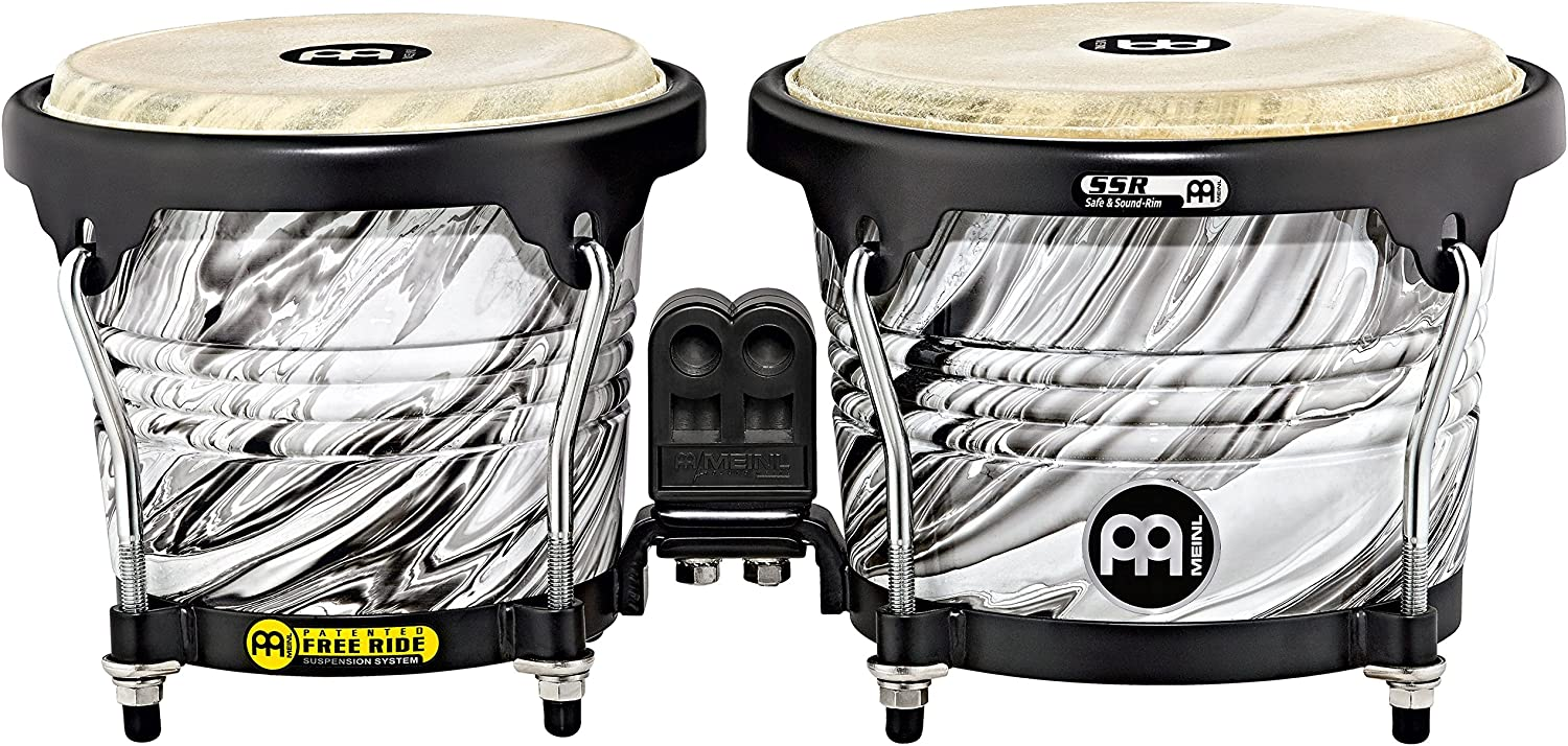 Meinl Percussion Bongos with Wood Shells, White Marble Finish