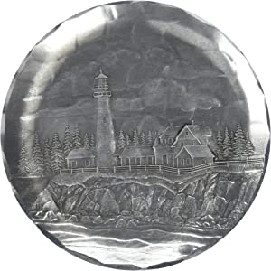 Wendell August Forge Lighthouse Coaster, Portland, Hand-hammered Aluminum, Keeps Tabletops Safe, 4.5 Inch Round Coaster