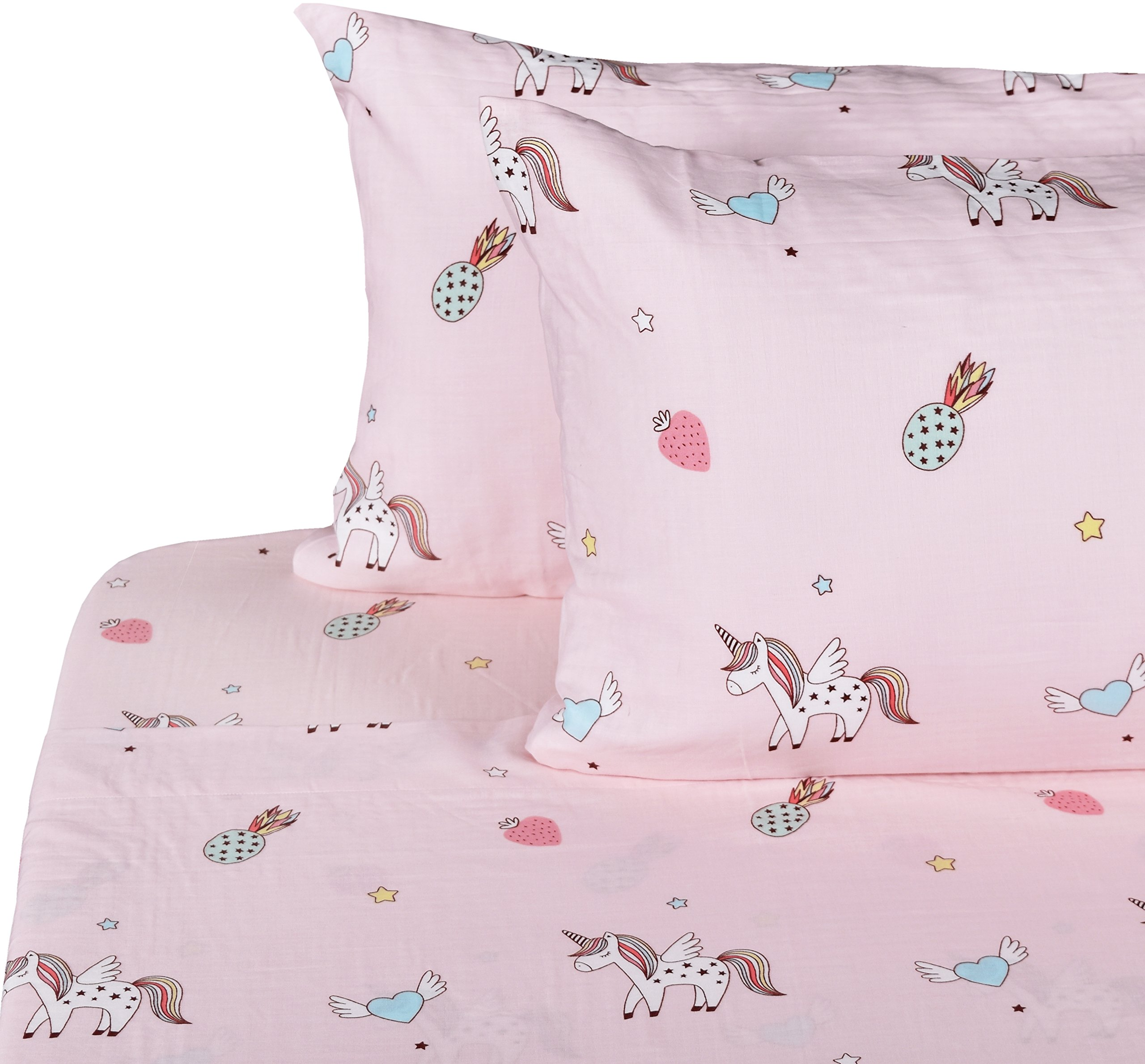 J-pinno Unicorn Happy Girls Double Layer Muslin Cotton Bed Sheet Set Full, Flat Sheet & Fitted Sheet & Pillowcase Natural Hypoallergenic Bedding Set (16, Full)