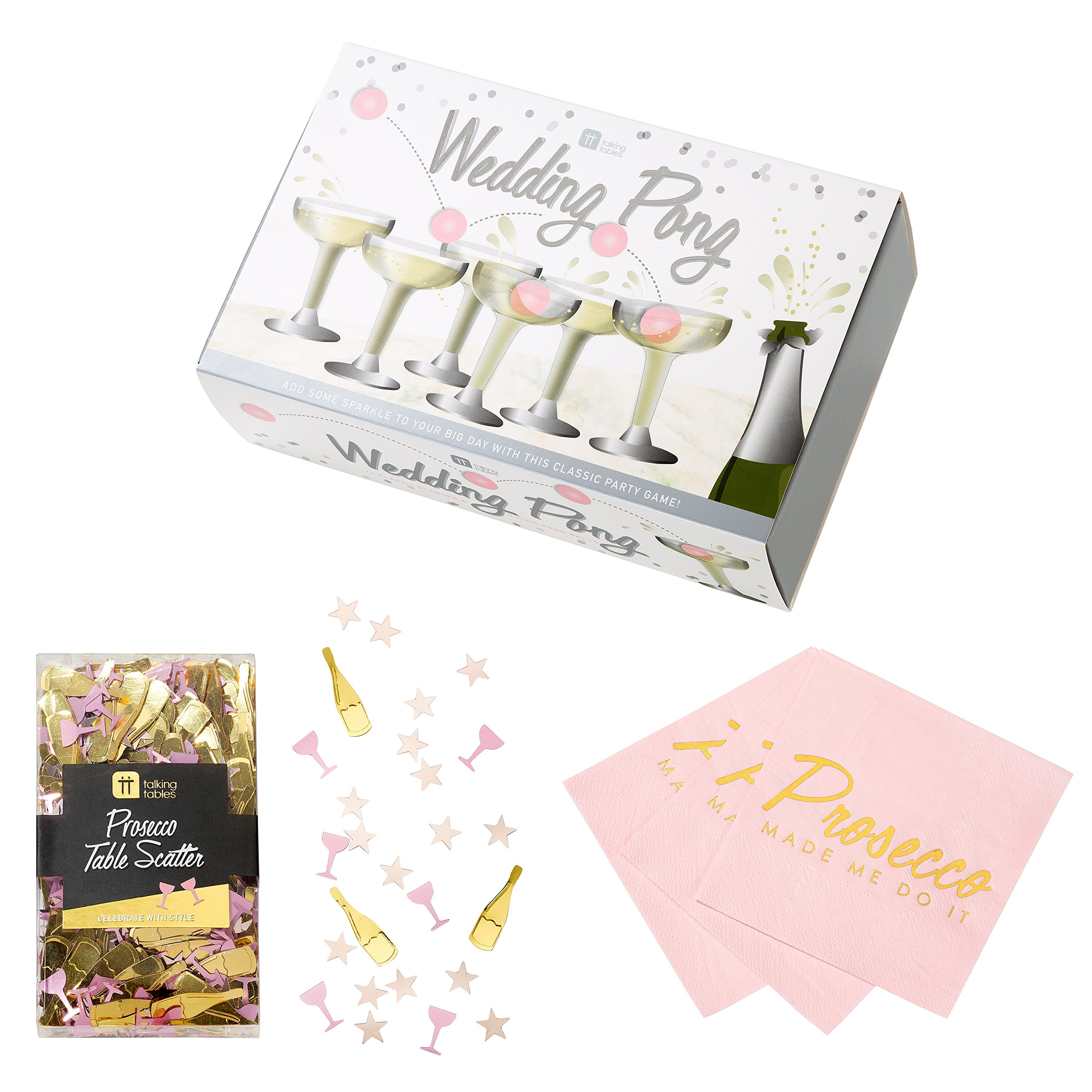 Talking Tables Wedding Pong Bridal Party Bundle, Baby Showers, Drinking Games & Celebrations   Prosecco Glasses & Ping Pong Balls, Cocktail Napkins & Table Scatter
