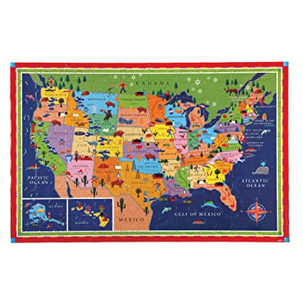 eeBoo United States Map Puzzle for Kids, 100 Pieces