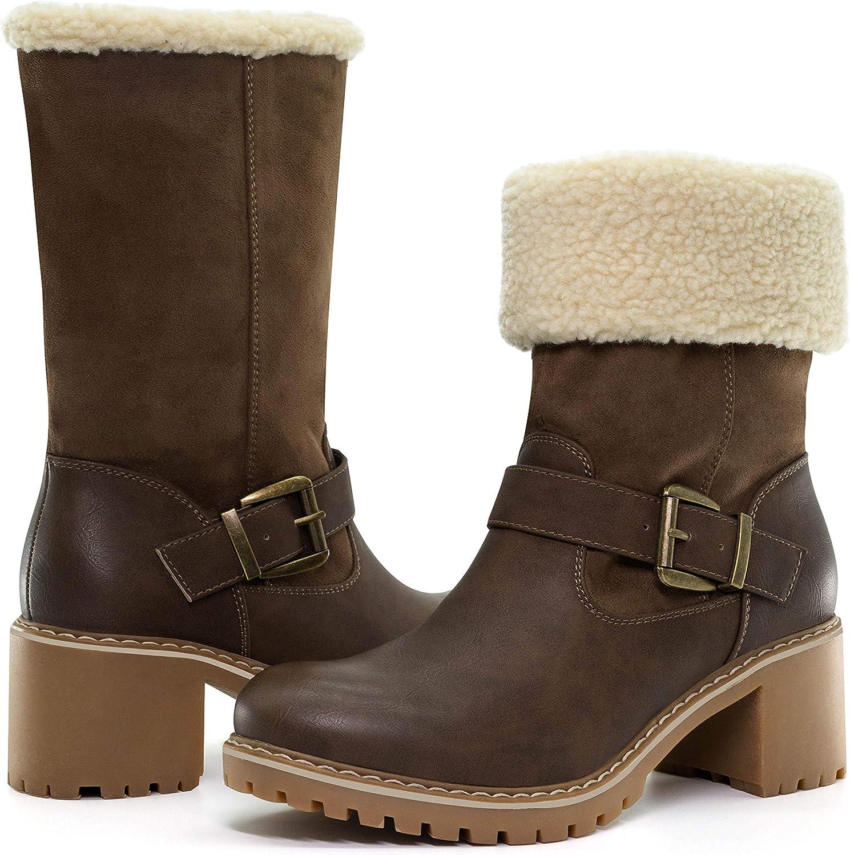 katliu Women's Fashion Mid Calf Boots Foldable Warm Boots Fur Winter Boots with Chunky Heel