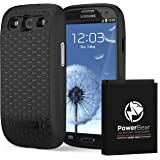 PowerBear Samsung Galaxy S3 Extended Battery [4500mAh] & Back Cover & Protective Case (Up to 2.2X Extra Battery Power) - Black [24 Month Warranty & Screen Protector Included]