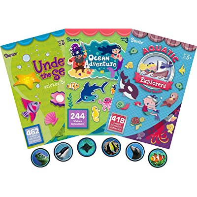 Under The Sea, Ocean Adventures and Aquatic Explorers Assorted Sticker Books for Kids - 3 Books Plus 100 Additional Ocean Life Stickers - Over 1200 Stickers in This Bundle: Toys & Games