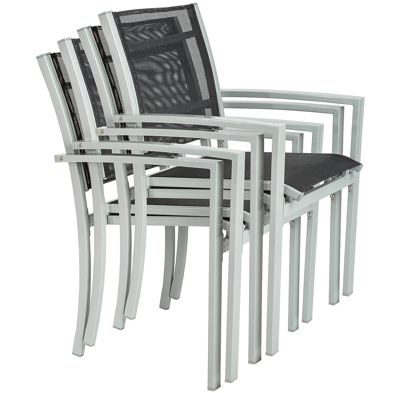 TecTake 800323 - Juego de 4 Sillas de jardín sillón balcón terraza Silla de Exterior (Gris | No. 402067