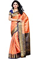 Mimosa Women's Silk Saree (225-Pch-Nvy,Peach,Free Size)
