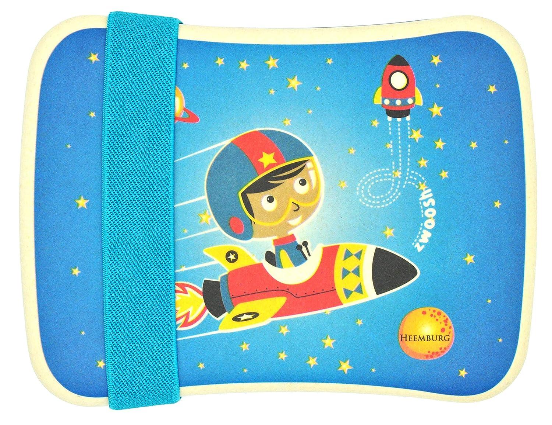 Bento Lunchbox Set aus Bambus für Kinder mit elastischem Stoffband – Perfekt für Sandwich und Snacks – Für Schule – Mit gratis Tasche – Spülmaschinen fest und BPA-frei – Öko und umweltfreundlich (Astronaut) Heemburg